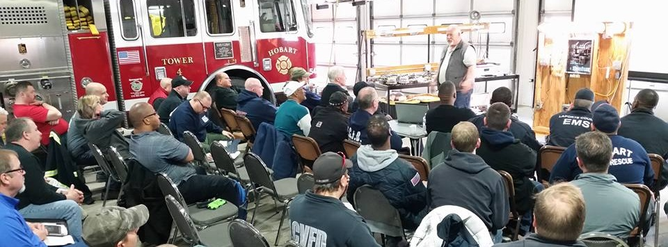 IN-IAAI member, Steve Shand, educating firefighters about electrical fires in Hobart, Indiana.