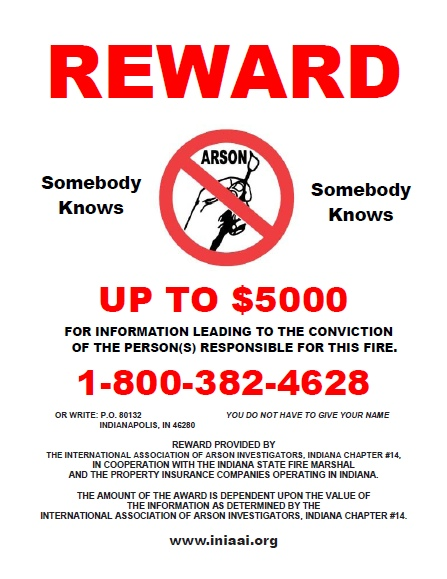 Indiana Arson Reward Flyer Image
